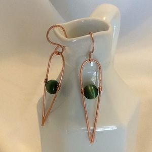 Copper and Green Tiger Eye Earrings